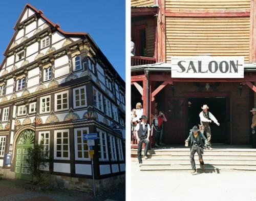 Historische Vorbilder: Das Blockhaus (rechts) ist eine frühe Form der Holzmassivbauweise, das Fachwerkhaus dagegen Vorläufer der Holzrahmenbauweise. (Fotos: marctwo/pixelio.de; Dieter Schütz/pixelio.de)