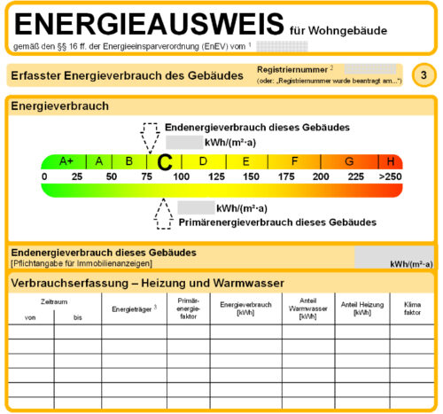 Ausschnitt aus einem Verbrauchsausweis (Muster) für Wohngebäude nach der bisherigen EnEV.