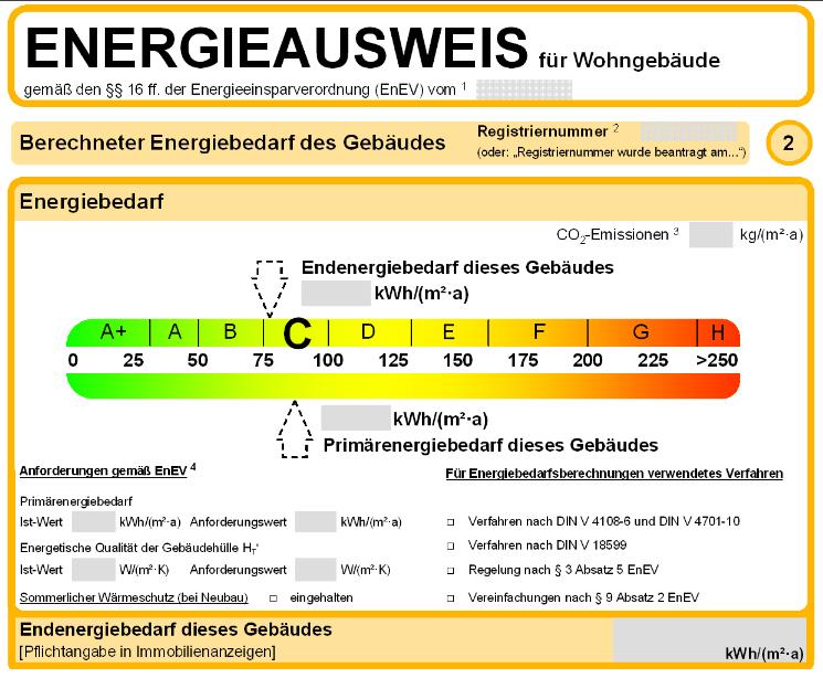 Ausschnitt aus einem Bedarfsausweis (Muster) für Wohngebäude nach der bisherigen EnEV.
