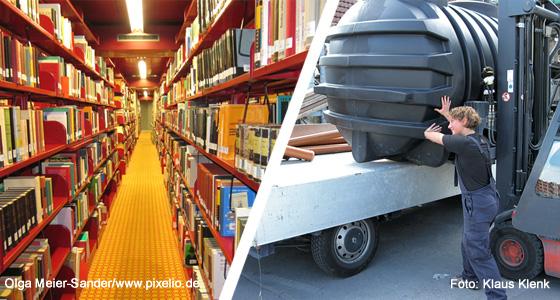 Montage Bücherei und Baustoffhandel