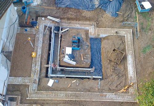 Streifenfundament aus Stahlbeton aus der Luftperspektive. Foto: Jansen Bauunternehmung GmbH