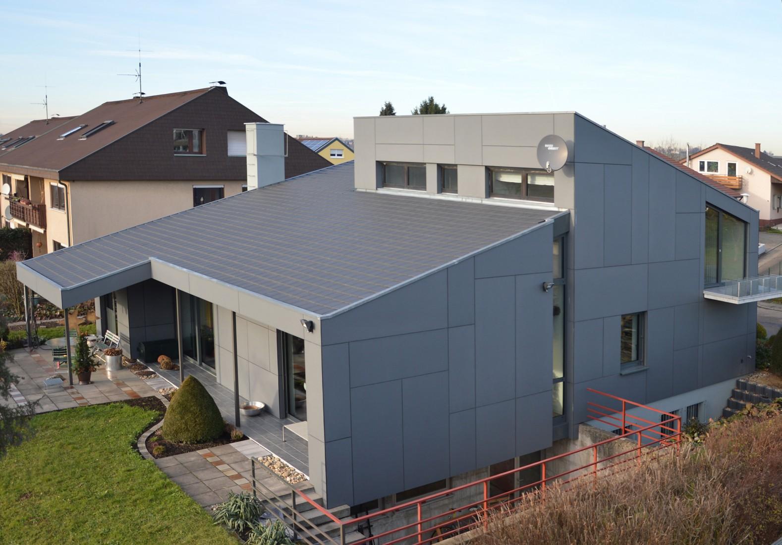 Fassade Einfamilienhaus Faserzement-Platten