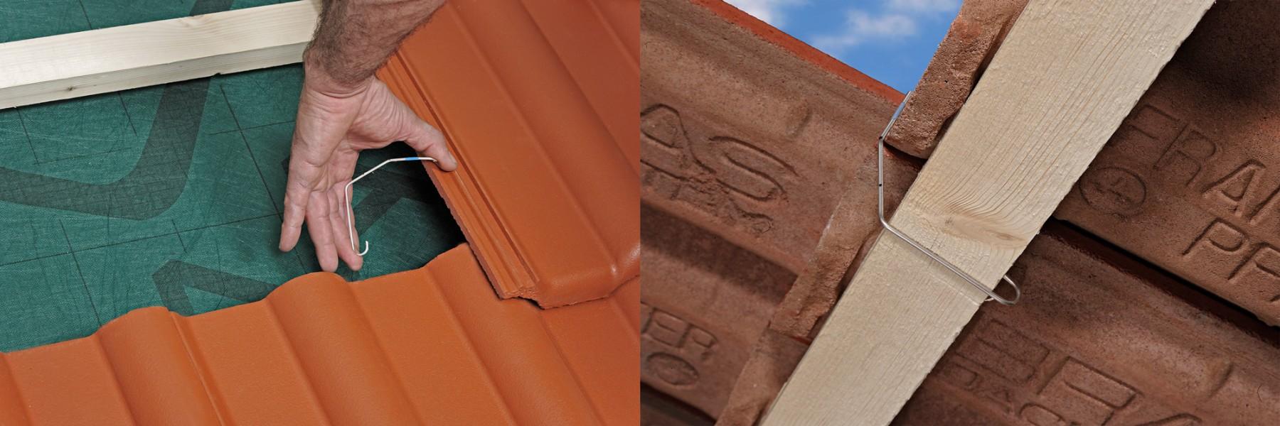 Flexible Sturmklammern werden an Dachpfanne und Dachlatte nur lose eingehängt. Fotos: Braas GmbH