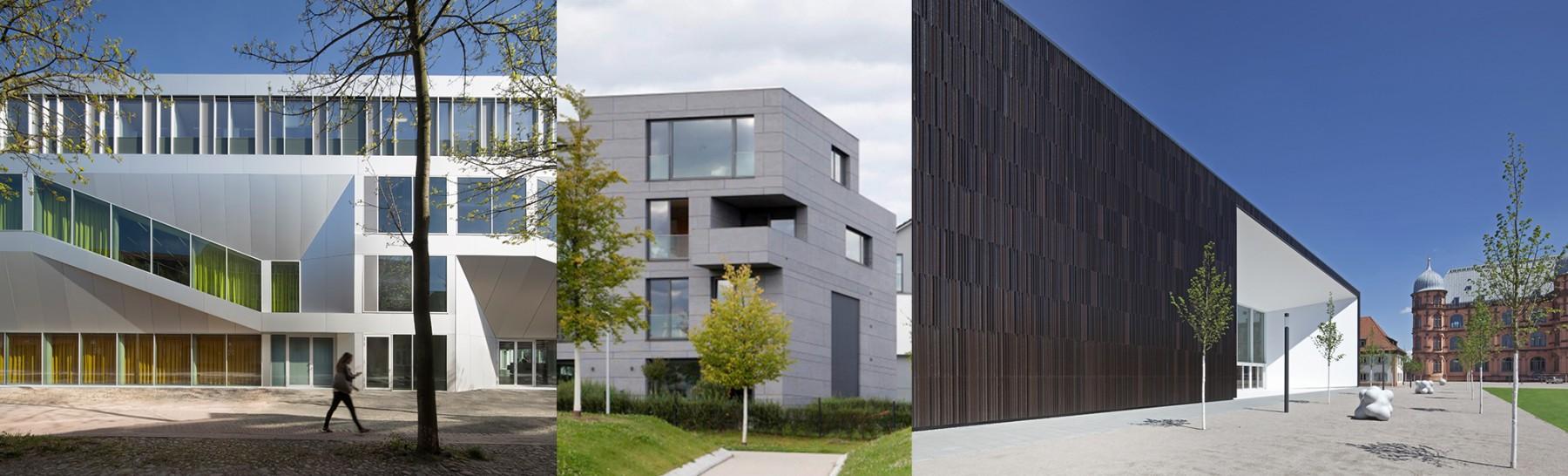 Aluminium, Faserzement, Keramik (v.l.n.r.): Hinter all diesen Gebäuden steckt eine VHF. Fotos: Werner Huthmacher (l.), David Franck (Mitte), Moeding (r.)