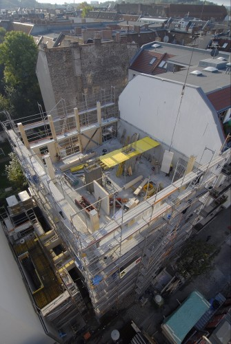 """Siebenstöckiges Holzhaus: Für das """"E3"""" in Berlin gab es eine Sondergenehmigung. Foto: Fermacell"""
