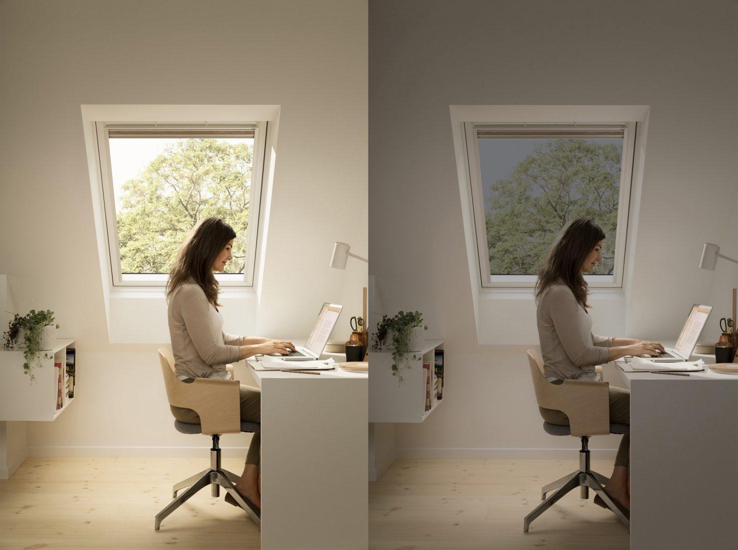 Elektrochrome Verglasung verringert die Raumaufheizung und schließt blendendes Sonnenlicht aus. Foto: Velux