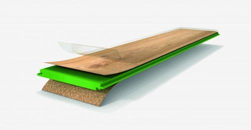 """Der Designboden """"Eco Balance PUR"""" besteht aus einer HDF-Trägerplatte, einem Gegenzug aus Kork und einem mit PUR-Kunststoff ummantelten Dekorpapier. Foto: Parador"""