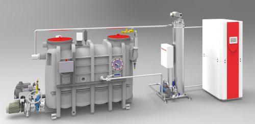 Fettabscheider und Abwasserwärmerückgewinnung in einem: Das System Liputherm mit Wärmepumpe (ganz rechts) und Wärmetauscher (links daneben). Foto: ACO Passavant