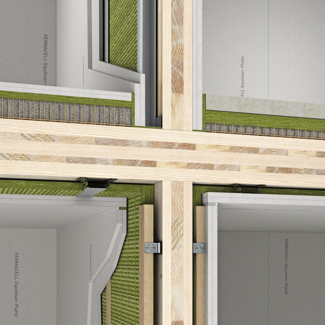 Brandschutztechnisch wirksame Bekleidung mit Gipsfaserplatten im mehrgeschossigen Holzbau – Projektlösung. Grafik: Fermacell