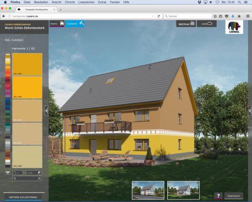 Konfigurator mit RAL-Farben auf der Website von Caparol.
