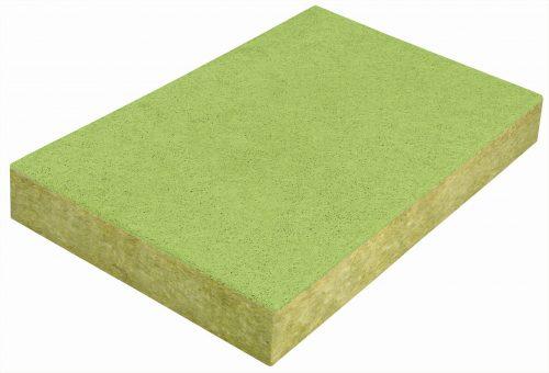 Steinwolle-Mehrschichtplatte: Die Holzwolle-Deckschicht ist nur wenige Millimeter stark. Foto: Knauf Insulation