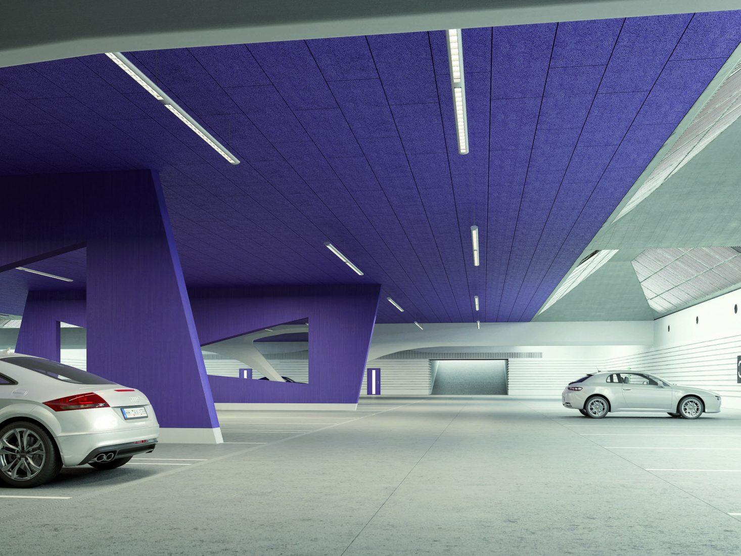 Tiefgaragen-Klassiker: Mehrschichtplatten mit (violett eingefärbter) Holzwolle-Deckschicht. Foto: Knauf Insulation
