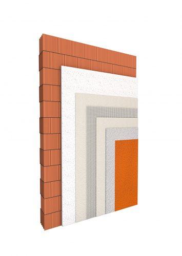 Leichtputz auf Ziegelwand: Der Mörtel wird als Unterputz direkt auf dem Mauerwerk verarbeitet. Foto: Schwenk Putztechnik