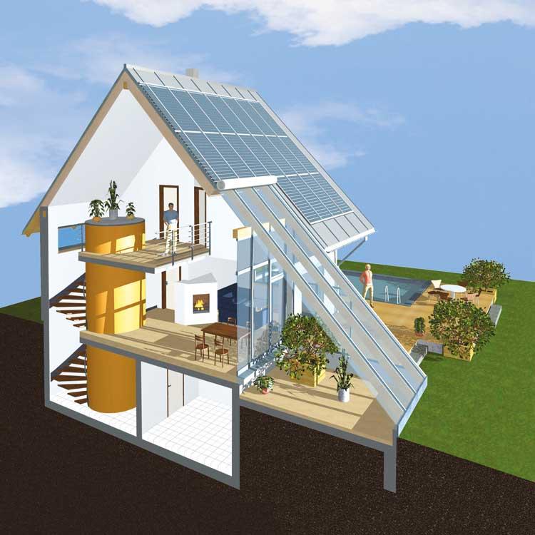 Solarthermie auf dem Dach und ein Pufferspeicher im Gebäude sind wesentliche Charakteristika eines Sonnenhauses. Bild: Sonnenhaus-Institut