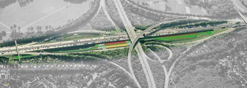 Die Teststrecke im Autobahnkreuz Köln-Ost unterteilt sich in Demonstrations- (rot), Untersuchungs- (gelb) und Referenzabschnitte (grün). Grafik: BASt