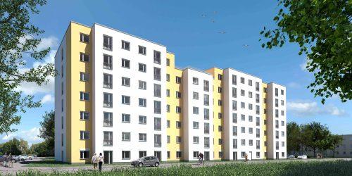 Dieser modulare Wohnneubau in Berlin-Spandau dient aktuell als Flüchtlingsunterkunft. Grafik: Gewobag