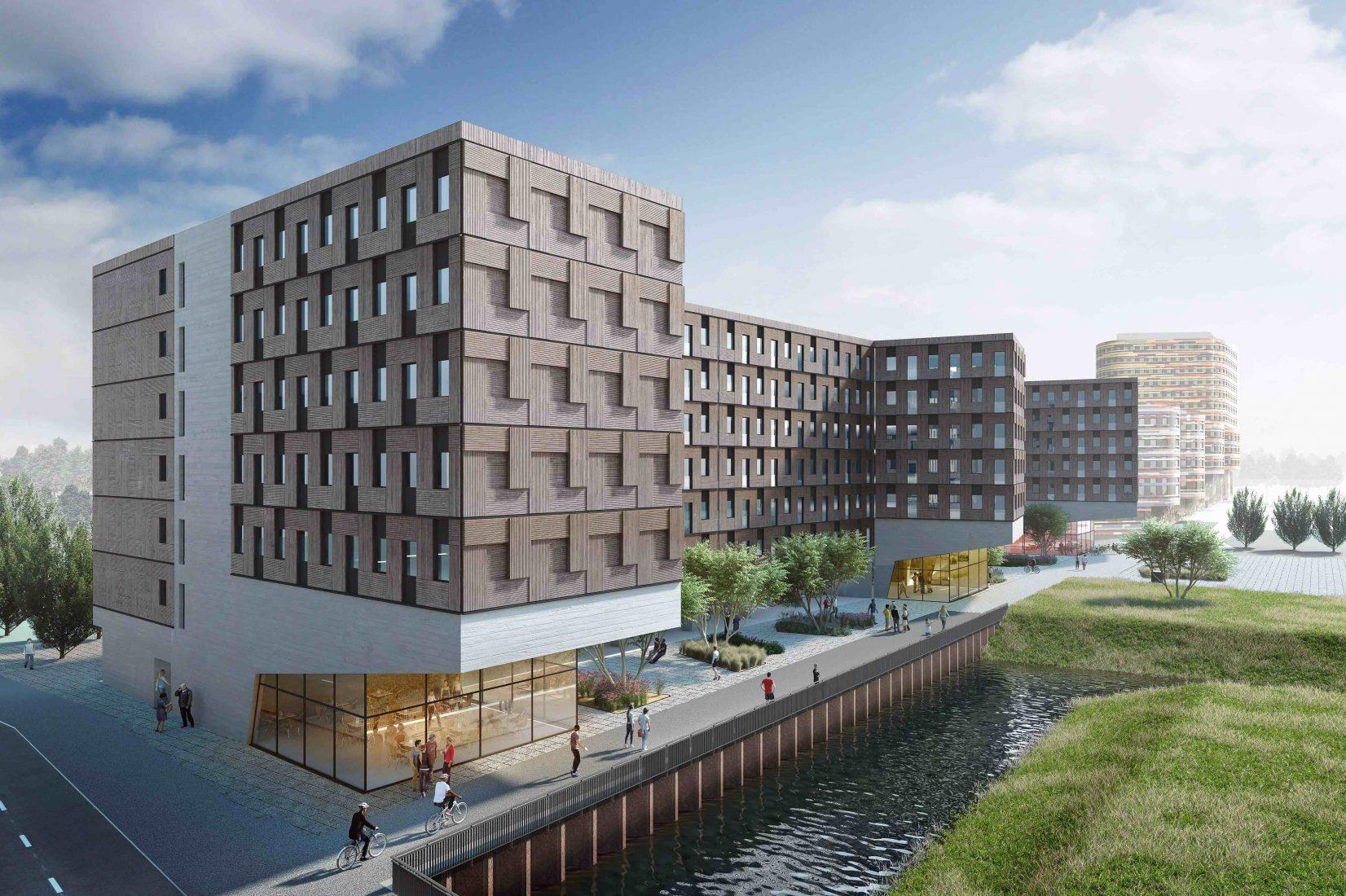 """Das Hamburger Studentenwohnheim """"Woodie"""" besteht aus aufeinandergestapelten Massivholz-Modulen in Container-Form. Grafik: Woodie Hamburg"""