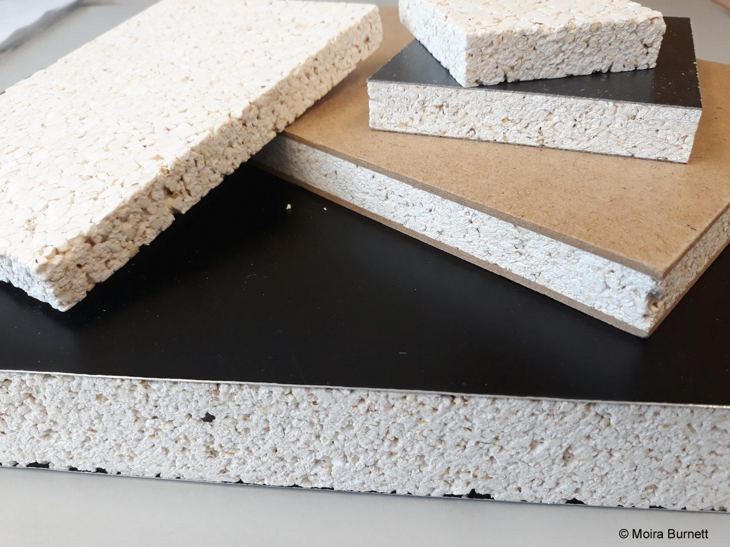 Die Popcorn-Sandwichplatten wurden unter anderem mit Decklagen aus Sperr- und Spanholz, Aluminium und HPL beschichtet. Foto: Moira Burnett