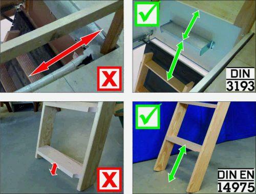 Die DIN 3193 regelt, wann Zusatzstufen notwendig sind. Die DIN EN 14975 definiert den Maximalabstand von unterster Treppenstufe zum Fußboden. Abbildungen: Wellhöfer