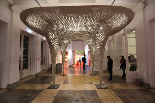 Rosenstein-Pavillon: Dieses filigrane Ausstellungsobjekt besteht durch und durch aus Gradientenbeton. Fotos: ILEK Stuttgart