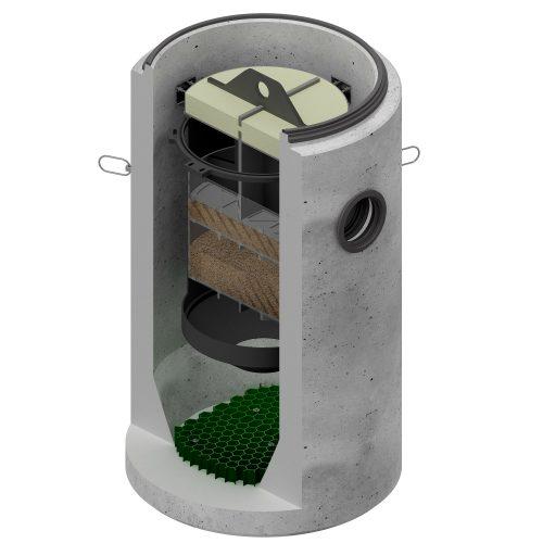 """Der Betonschacht """"Hydrosed active"""" arbeitet mit einer Filterpatrone, der ein Sedimentationsbereich vorgelagert ist. Grafik: ACO"""