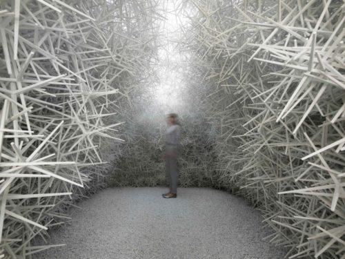 Der Pavillon wurde aus 120.000 unverbundenen Einzelpartikeln errichtet. Fotos: ICD / Universität Stuttgart