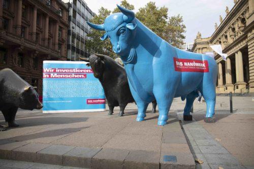 Werbung fürs Handwerk: Der Zentralverband des Deutschen Handwerks veranstaltete im September 2018 eine Aktion vor der Frankfurter Börse. Foto: ZDH