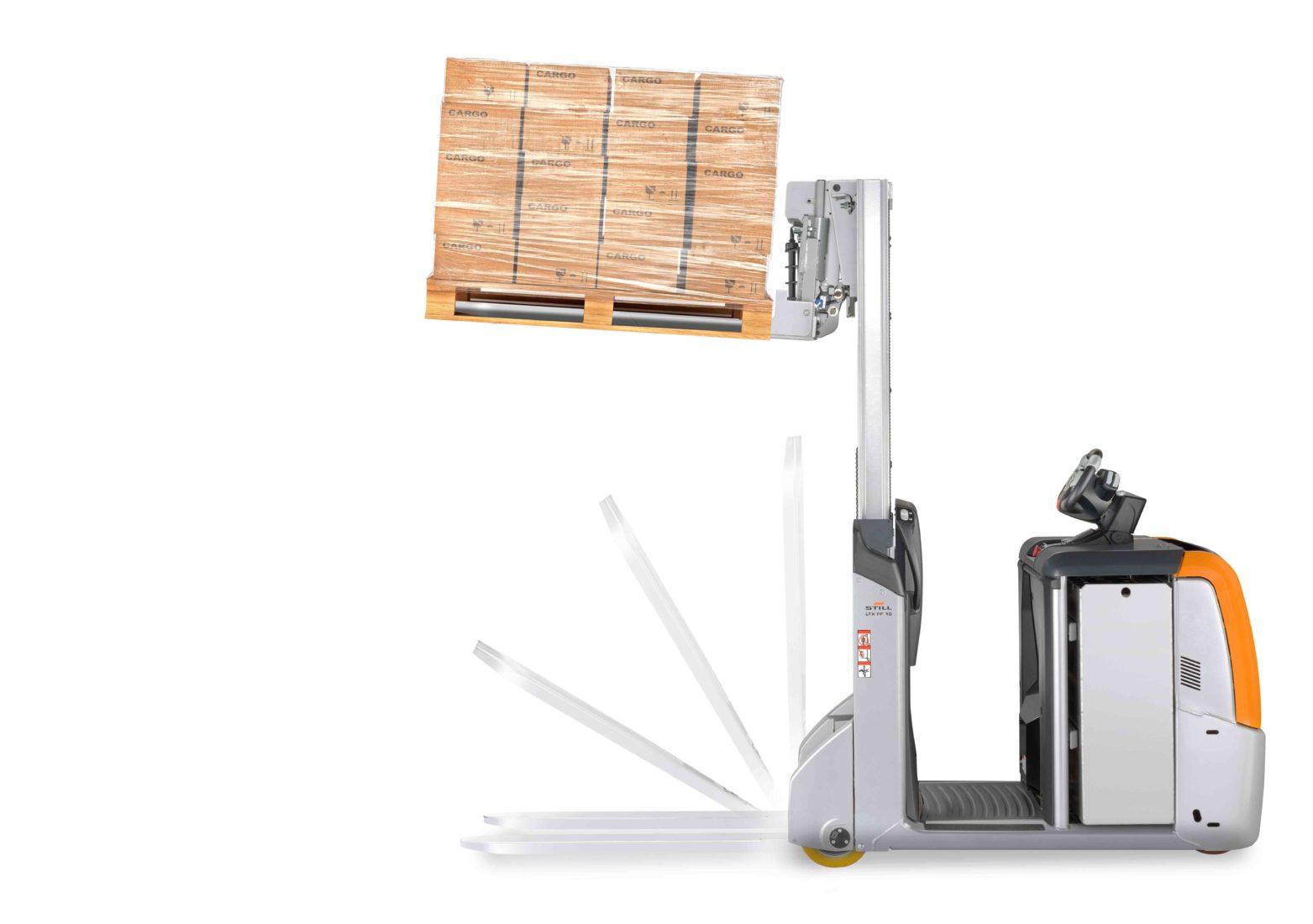 Stapler per Knopfdruck: Die Gabeln des Multifunktionsschleppers lassen sich jederzeit schnell ein- und ausklappen. Foto: STILL GmbH