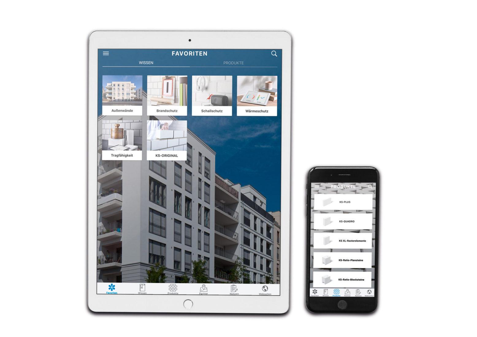 Die neue KS-App bietet nützliche Informationenrund um das Bauen mit Kalksandstein. Bild: KS-Original GmbH