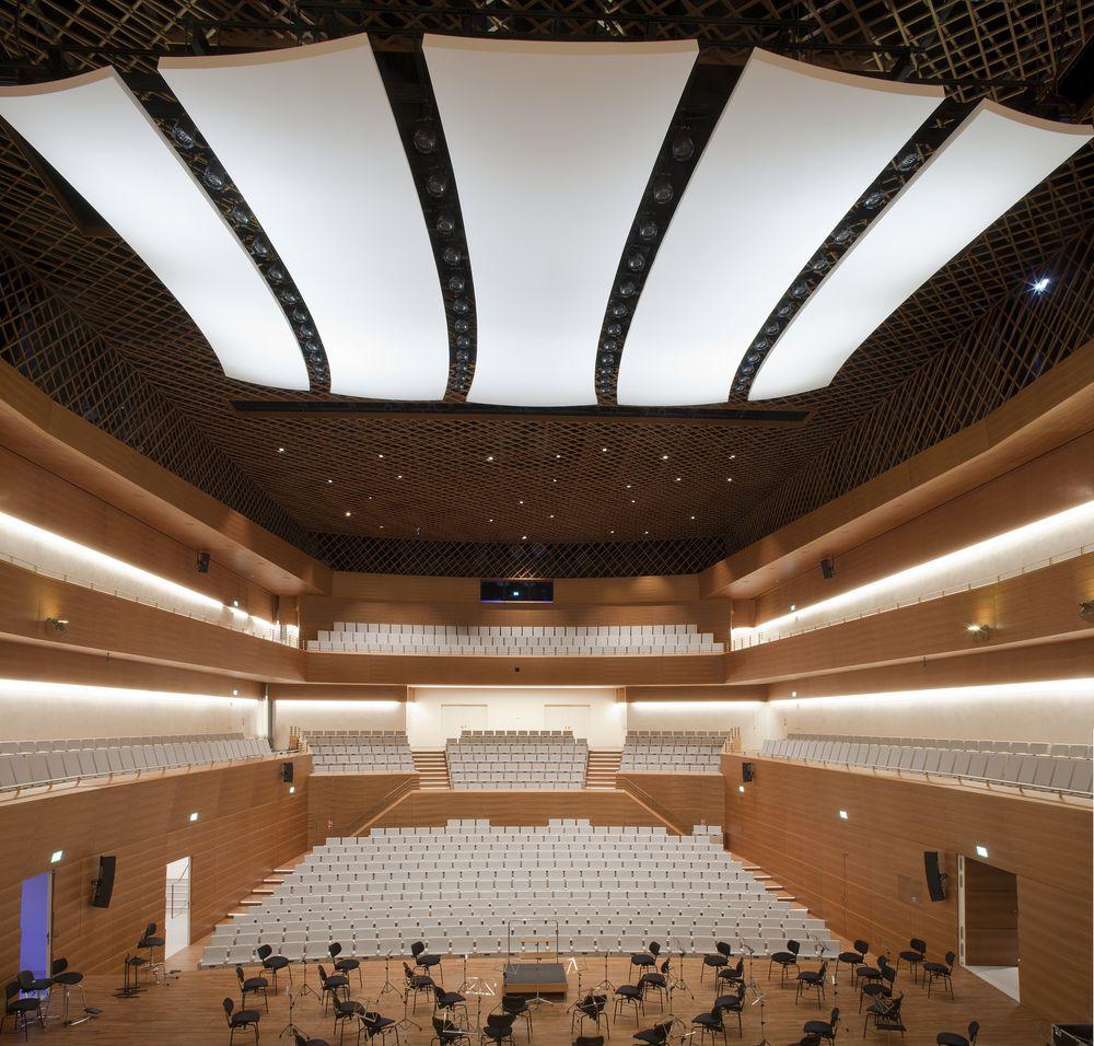 Das Deckensegel das im neuen Musikforum Ruhr in Bochum die Akustik steuert