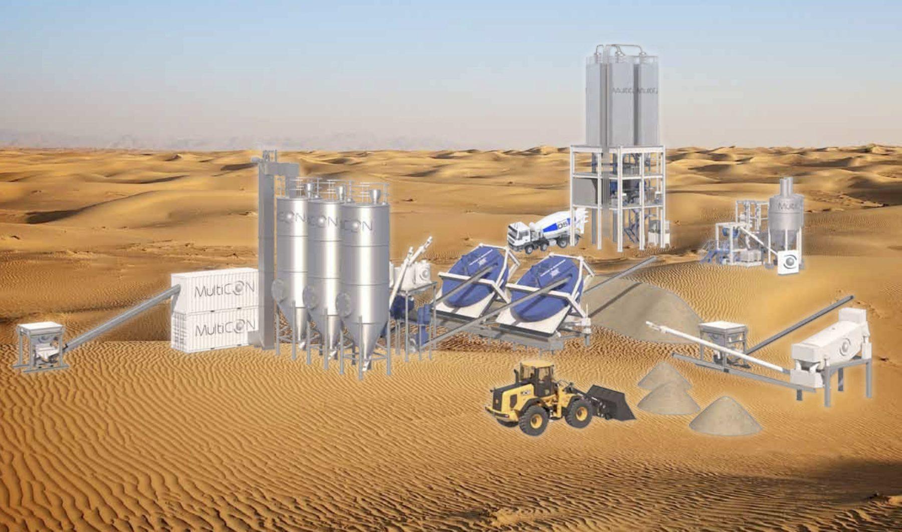 Keine Utopie mehr: Wüstensand lässt sich zu Betonzuschlagstoffen aufarbeiten. Abbildungen: MultiCON