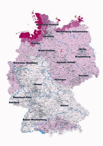 Nach DIN 1055 wird Deutschland in vier Windzonen eingeteilt. Grafik: FOS