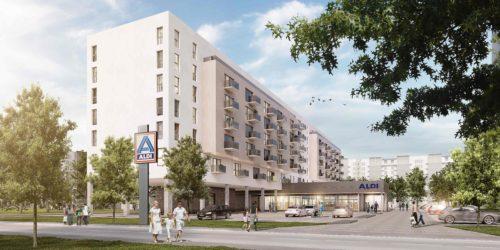 Zukunftslösung: In Berlin plant Aldi Nord mit Wohnraum überbaute Filialen. Grafik: Aldi