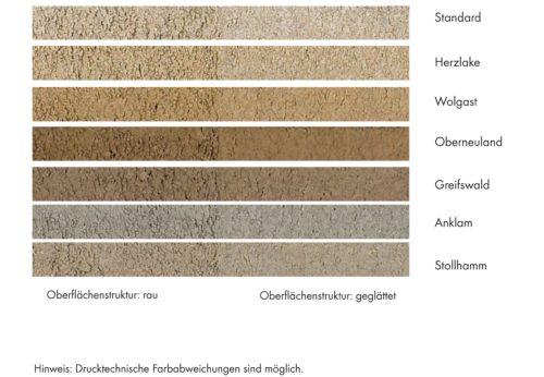 Bremer Muschelkalk ist standardmäßig in sieben unterschiedlichen Farben erhältlich. Grafik: Marbos