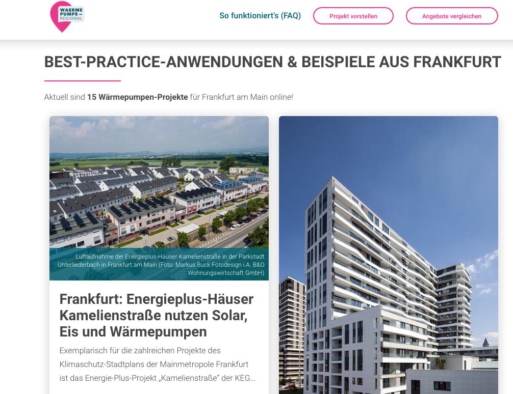 Für Frankfurt/Main sind aktuell 15 Wärmepumpen-Projekte online.