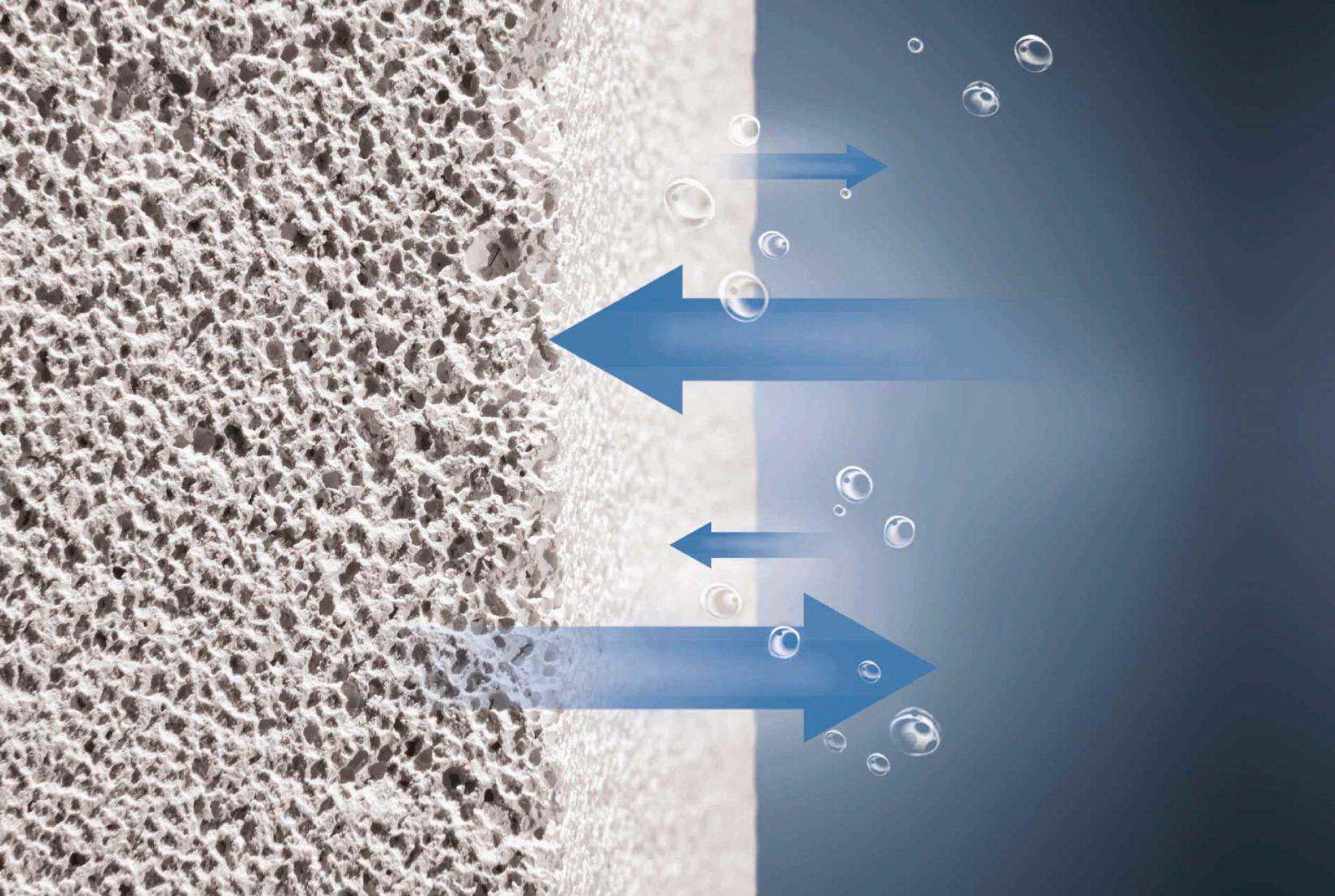 Die Platten (hier auf Porenbeton) sind diffusionsoffen und kapillaraktiv.   Foto: Xella