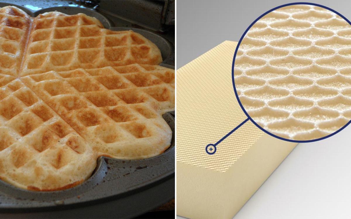 Gewaffelte XPS-R-Platte: Das Muster erinnert an eine essbare Waffel. Foto rechts: Ursa