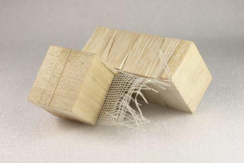 Balsaholz-Stückchen aus einem Rotorblatt. Foto: Fraunhofer WKI / Manuela Lingnau