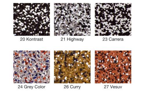 Einige Farbkombinationen aus der Buntsteinputz-Kollektion des Herstellers quick-mix.