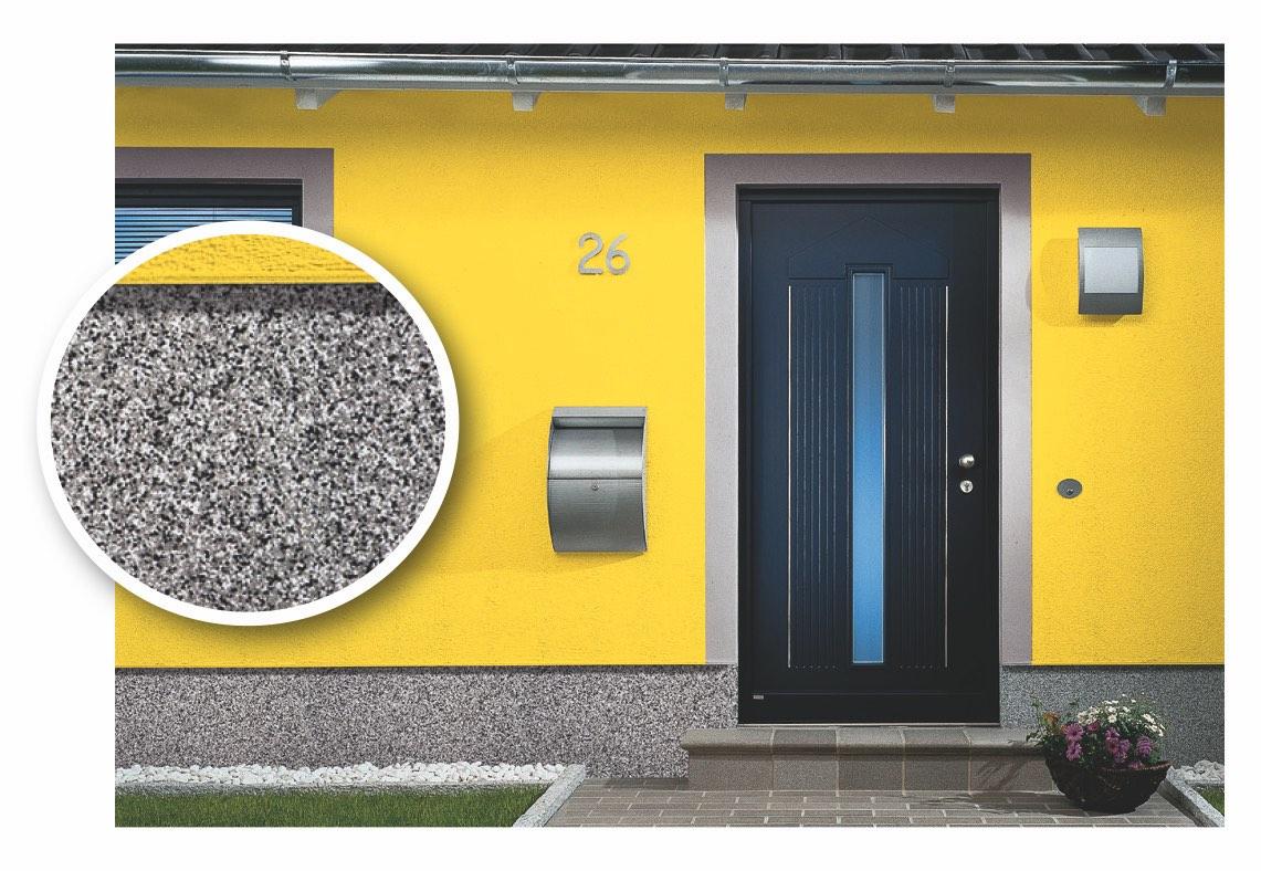 An der Fassade findet man Buntsteinputz häufig im Sockelbereich. Foto: quick-mix