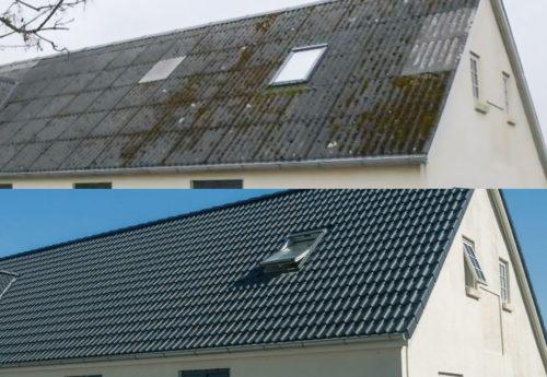 Vorher – nachher: Mit leichten Dachsteinen lassen sich auch Altbaudächer problemlos sanieren. Foto: Braas