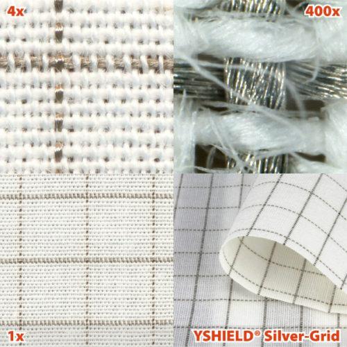 """Der Abschirmstoff """"Silver-Grid"""" besteht aus Baumwolle mit Silberfäden und lässt sich zum Beispiel für Vorhänge verwenden. Foto: YSHIELD"""