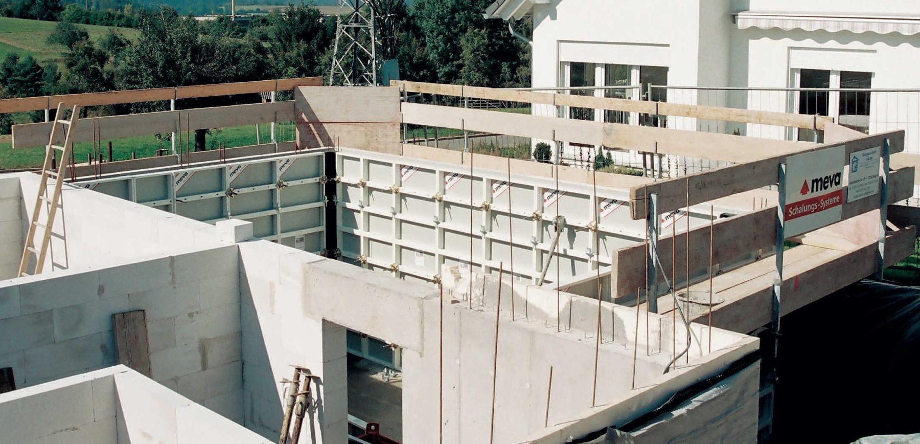 Moderne Wandschalungen im Rohbau. Foto: Meva