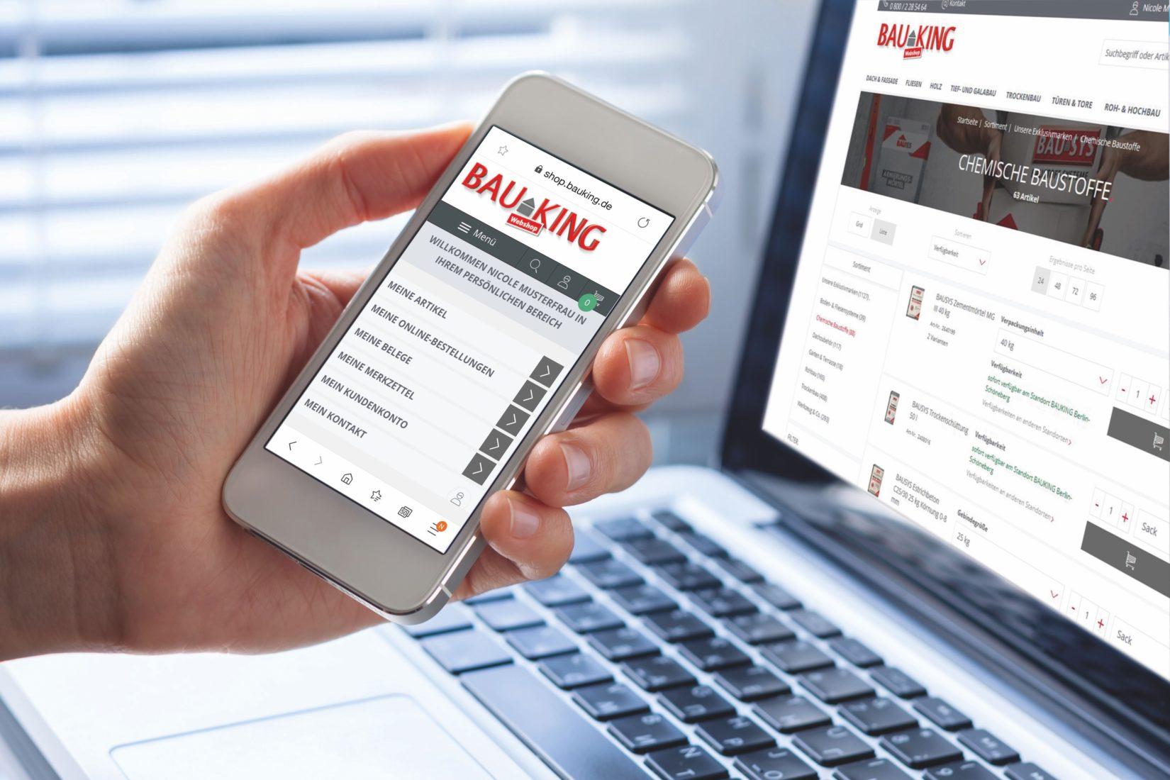 Im Webshop können Profikunden Baustoffe rund um die Uhr einkaufen. Foto: Bauking AG