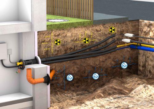 Radondichte Kabel- und Rohrdurchführungen. Grafik: Hauff Technik