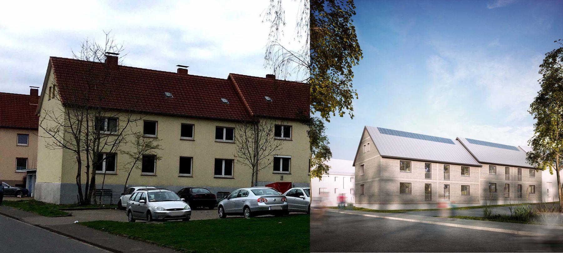 In Hameln werden gerade die ersten deutschen Mehrfamilienhäuser seriell saniert. Foto: ecoworks GmbH