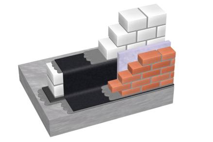 Bei der Z-Sperre wird das eine Ende der Kunststoffbahn in eine Lagerfuge des Hintermauerwerks eingebettet. Grafik: Dörken