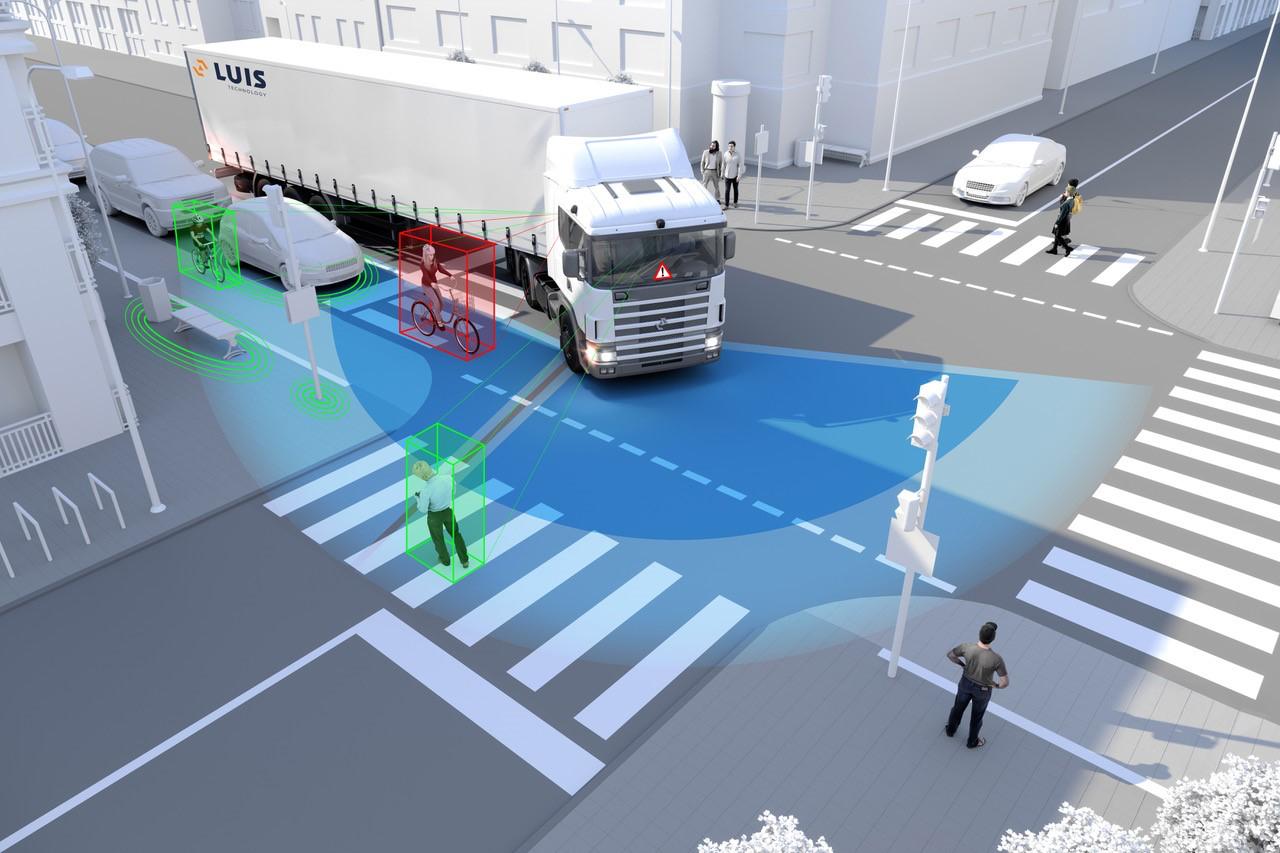 Abbiegeassistenten warnen Lkw-Fahrer vor Radfahrern oder Fußgängern im toten Winkel. Grafik: LUIS Technology
