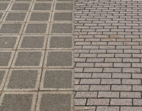 Betonsteine im Kreuzverband (l.) sowie mit versetzten Steinen (r.). Fotos: Pixabay