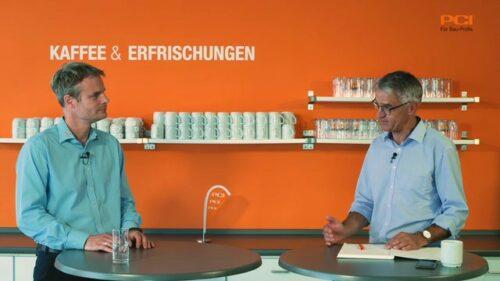 PCI-Fachleute: Thorsten Leppler (Produktmanager Fliesen-/Natursteintechnik) und Markus Balleisen (Leiter Zentrale-Anwendungstechnik). Foto: PCI
